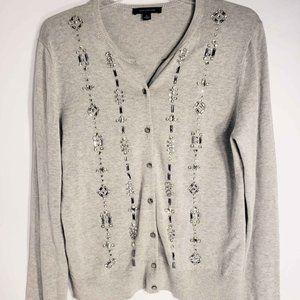 Ann Taylor Gray Rhinestone Jewel Cardigan Size L
